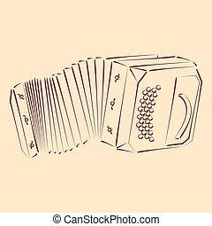 Bandoneon. - Sketched bandoneon concertina. Harmonic colors....