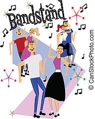 bandstand dancers - dancers from 50\'s era dancing in front...