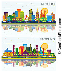 Bandung Indonesia and Ningbo China City Skylines Set with Color Buildings, Blue Sky and Reflections.