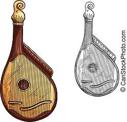 bandura, ∥あるいは∥, kobza, ウクライナ, 音楽機器, スケッチ