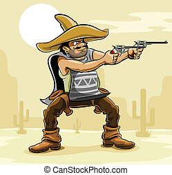 bandyta, preria, meksykanin, armata