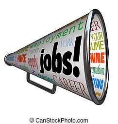 banen, carrière, werken, bullhorn, megafoon, beroep