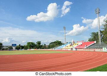 banen, fodbold, (defocused), felt, løb, hjørne