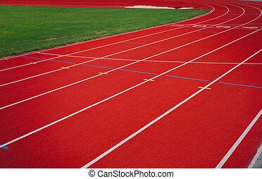 banen, fodbold felt, løb, hjørne, rød