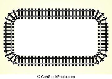banen, tekst, ramme, skinne, sted, baggrund, jernbane,...