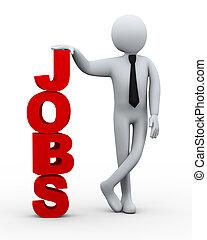 banen, zakenman, presentatie, woord, 3d