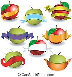 baner, äpplen, band