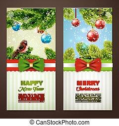 baner, 2, sätta, jul kort