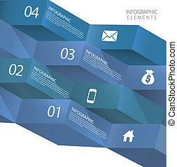 baner, abstrakt, nymodig, origami, infographic, 3