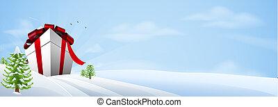 baner, bakgrund, julgåva, gigant