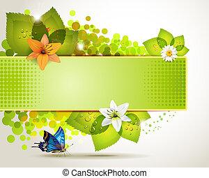 baner, design, med, blomningen
