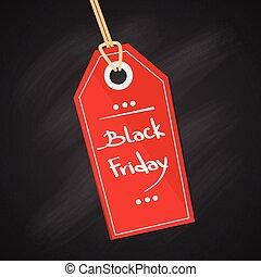 baner, etikett, svart, fredag, försäljning, röd