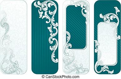 baner, grön, fransk, vertikal, retro