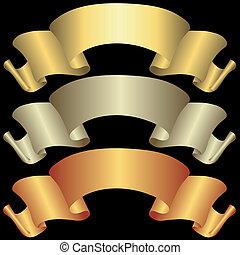 baner, gyllene, brons, silverren