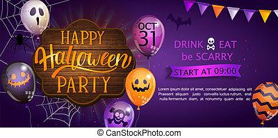baner, halloween, välkommen, fest., lycklig