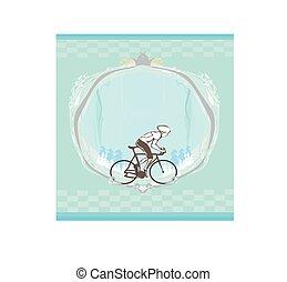 baner, kärlek, text, utrymme, abstrakt, -, ram, cykling