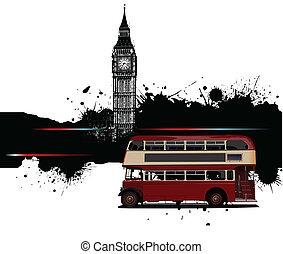 baner, london, grunge, buss