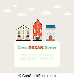 baner, mall, vykort, design, stad, bakgrund, liten
