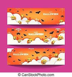 baner, papercut, illustrations., lycklig, skyn, stil, set., pumpor, vector., halloween, färgrik