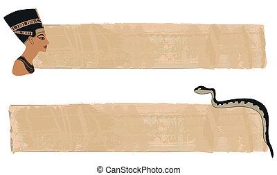 baner, papyrus, nefertiti