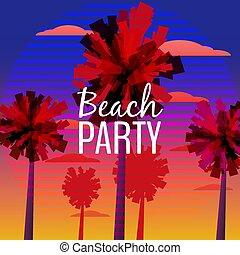 baner, partido, desenho, eps10, illustration., natureza, voador, árvores., tipográfico, vetorial, sea., fundo, convite, praia palma, oceano ocaso