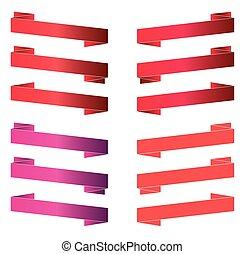 baner, remsor, isolerat, white., röd