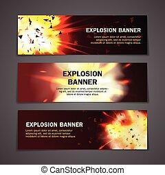 baner, sätta, explosions