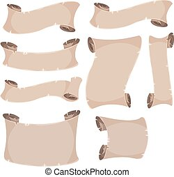 baner, sätta, pergament, rulla