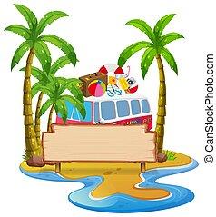 baner, sommar, strand