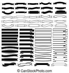baner, svart, remsor, sätta, vector., vit