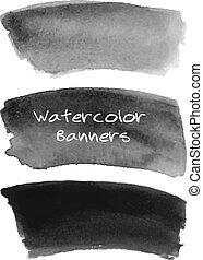 baner, svart, set., vattenfärg, grå