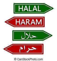 baner, underteckna, muslimsk, vektor, förbjuden, halal, ...