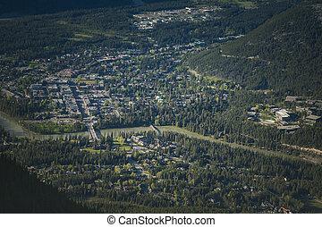 Banff - aerial photo. Banff, Alberta, Canada.
