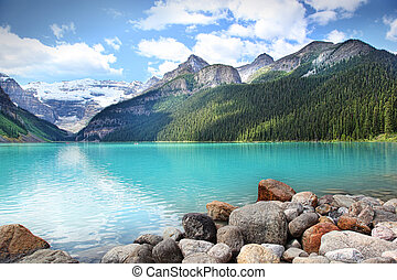 banff, louise, parque nacional, lago, localizado