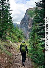 Banff National Park - A female hiker in Banff national park...
