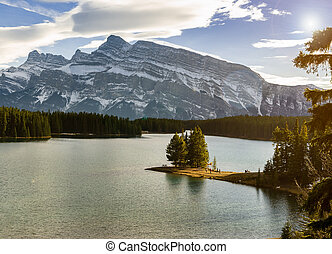 banff, parc, alberta, national, cric, lac, rundle, canada, monter, deux