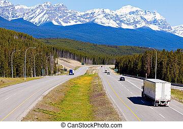Banff,  semi, nazionale, parco, camion, strada