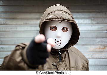 Bang - anonymous man with plastic mask , criminal concept, ...