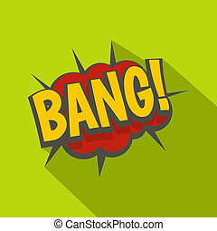 Bang, comic book explosion icon, flat style