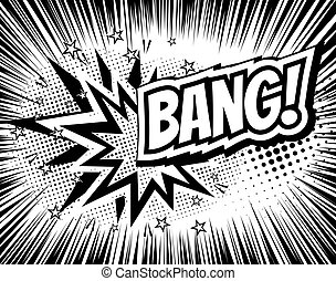 Bang comic cartoon wording. Pop-art style. Vector...