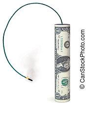 bang for the buck - Dollar shaped like a firecracker
