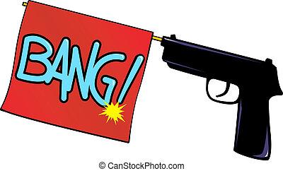 "Bang! - A gun fires a red flag, \""Bang!\"". Vector"