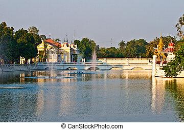 Bang Pa-In Aisawan, artificial lake with bridge and temple...