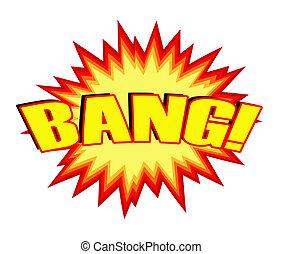 Bang! - Yellow cartoon bang illustration on white background...