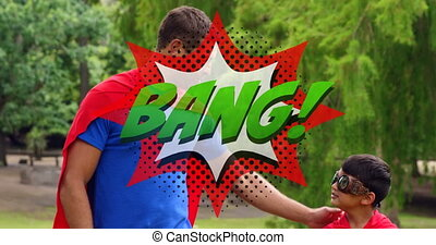 Bang text on speech bubble against dad and son in superhero ...