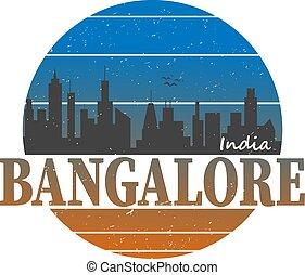 Bangalore India Asia Stamp Logo Icon Skyline Silhouette Symbol Round Design Skyline City