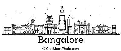 bangalore, skyline, histórico, esboço, edifícios.