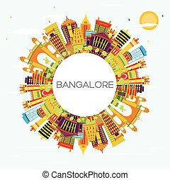 Bangalore Skyline with Color Buildings, Blue Sky and Copy Space.