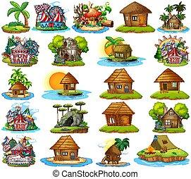 bangalows, conjunto, aislado, diferente, parque, plano de ...