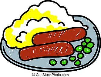 sausages and mashed potatoes with a few peas on a plate - food art series